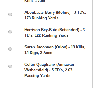 Vote for Sarah for the WQAD Score Standout!